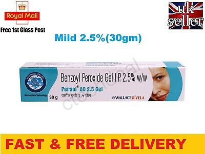 Benzoyl Peroxide Gel 2.5% Persol AC for Acne Vulgaris Spots Blackhead Pimple 30g