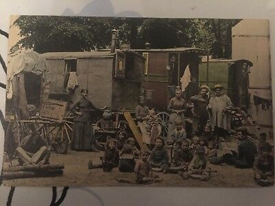 Carte Postale Ancienne Cpa    Tres Rare Gens Du Voyage Roulottes Tres Animees