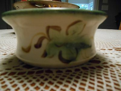 """Clouds of Folsom California Bowl 2.25""""X4.25"""" Floral Off White&Green 1996 Signed"""