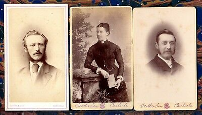 CDVs ~ VICTORIAN MEN & WOMAN Photographer SCOTT of CARLISLE ~ c1880