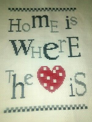 home is where the heart is complated cross stitch, approximately 23cm x 23cm