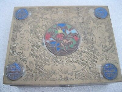Antique Chinese Finely Decorated Wood Lined Brass Cigarette Box