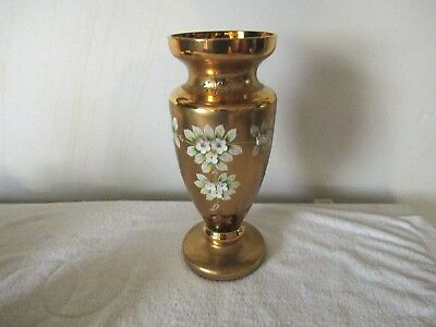 """Large Amber/gold Hand Painted Floral Blossoms Bristol Bohemian Vase 15"""" Tall"""