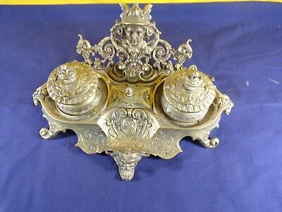 Antique Gilt Inkwell Ink Pot Table Top Inkwell Collectible