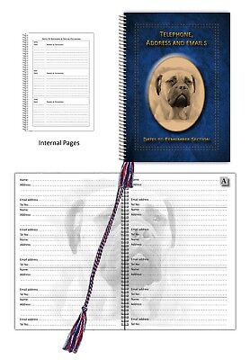 Bullmastiff Dog A5 Address, Telephone Book with Dates section in 3 colours Gift