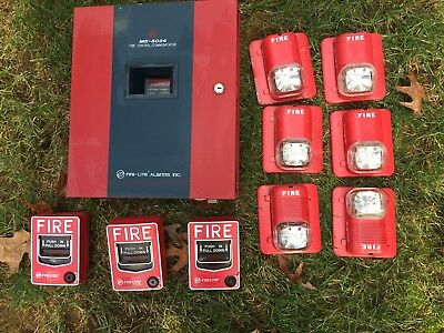 MS-5024 Fire Lite 5 Zone Alarm Control Board Panel w/3-Pull Stations & 6 Strobes