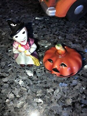 VINTAGE HALLOWEEN Lefton #047 Witch And Pumpkin Salt And Pepper China
