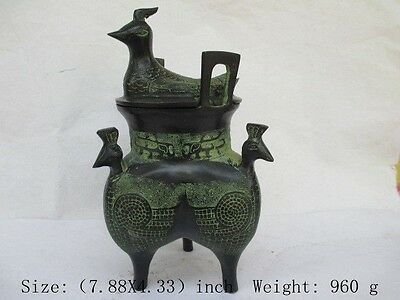 Chinese collection of bronze three legs birds totem incense burner