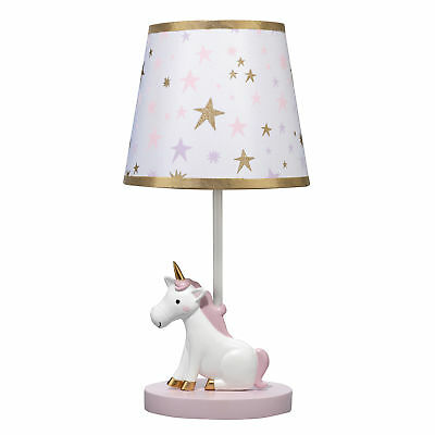 Bedtime Originals Rainbow Unicorn Lamp with Shade & Bulb - Pink, Gold, White