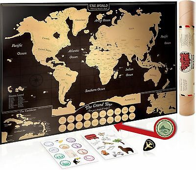 Scratch Off World Map Poster US States/Canadian Provinces- 24 Stickers Gold Foil