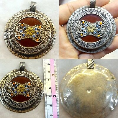 Wonderful Kazak Sterling Silver With An Old And Rare Afghan Brown Ceramic # K S1