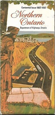 1967 Official Road Map NORTHERN ONTARIO Canada Uranium Mines Indian Reservations