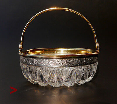 Vintage Russian solid Sterling Silver Crystal Glass Bowl  Basket / 385 grams
