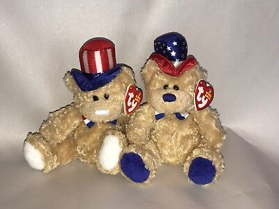 Ty Beanie Baby Independence MWT Bear Blue & White versions 2006 Patriotic Lot