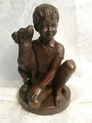 "1974 Franklin Mint "" Boy With Dog "" Signed Parks Bronze Heavy Statue Figurine"
