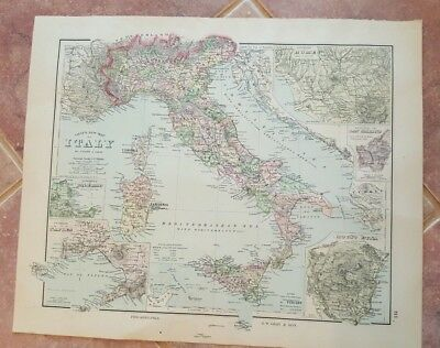 VERY NICE Antique Colored MAP/GRAY'S - ITALY - The National Atlas 1893