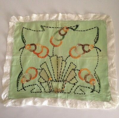 Art Deco 1920s Large Hand Embroidered Nile Green Pillow Sham/ Boudoir/ Home