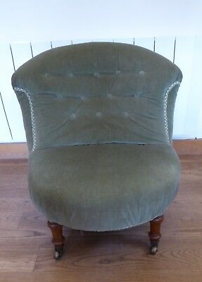 Victorian Antique Vintage Iron-Framed Button Back Armchair / Nursing Chair