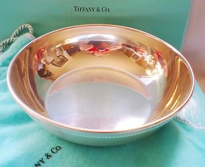 Vintage Tiffany Handcrafted Pewter Bowl W Box And Bag