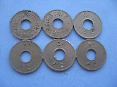 6 X  P.E. 3d THREE OLD PENCE SILVER COLOURED AMUSEMENT TOKENS COIN 1950'S.