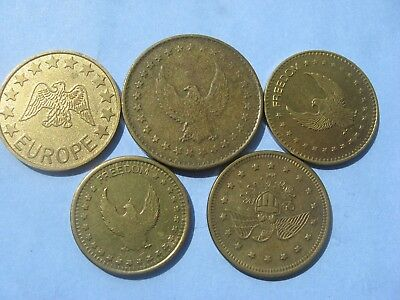 5 X Different Gold  Eagle Coloured Tokens  Coins