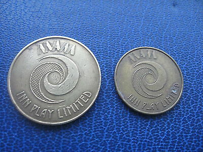 2 X DIFFERENT SIZE MAM INN PLAY LIMITED (10p) & (5P) GOLD COLOURED TOKEN COIN