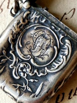 Stunning Rare 19thC Antique French Monogrammed Art-Nouveau Silver Vesta Case