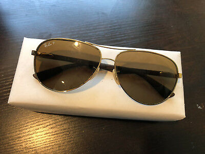 0f6e16348e5a0 Ray-Ban RB8313 001 51 Gold   Brown Carbon Fiber Aviator Sunglasses + case