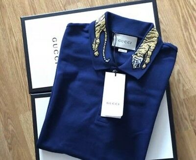 af7ba5fbc BRAND NEW WITH Tags GUCCI Bengal Tiger Blue Size S Polo Shirt RRP ...