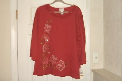 ad6a648c9cbaa Alfred Dunner Plus Size 2X Top Sunset Canyon Floral Embroidery New With Tags