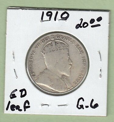 1910 Canadian 50 Cents Silver Coin - Edward Leaves - G-6