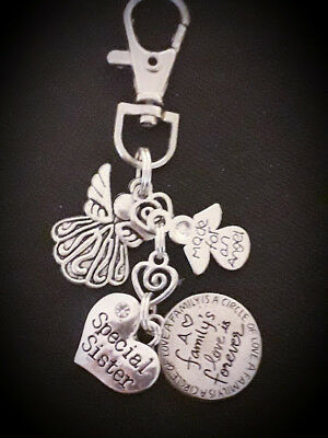 CLIP ON BAG CHARM Tibetan Silver Special Sister A family's love is forever Gift