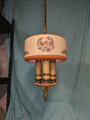 Vintage Art Deco 1930's hanging chandelier shade light fixture