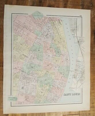 VERY NICE Antique Colored MAP/GRAY'S - SAINT LOUIS - The National Atlas 1893