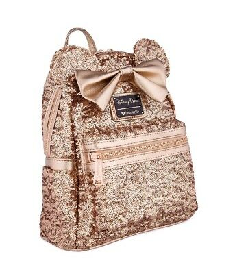 Disney Parks Loungefly Rose Gold Ears Sequin Minnie Mini Backpack GLOBAL SHIP