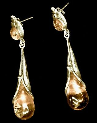 Antique or Vintage Golden Amber w/Inclusions Solid Sterling Nouveau Earrings