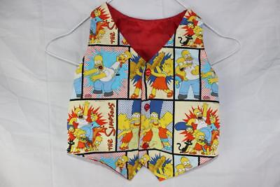 Vintage 80s 90s THE SIMPSONS Toddler Kids WAISTCOAT Unique Unisex sz 1 - 2 Rad