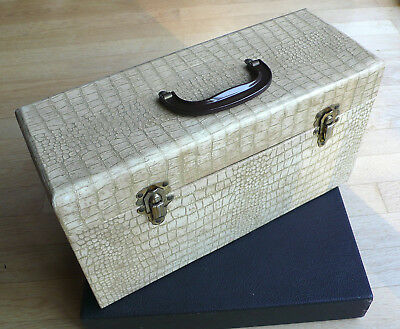 Orig. Disc Mate Double Single Koffer - 50s USA Record Case Faux Alligator