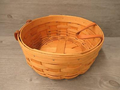 Longaberger Round Handwoven Basket With Leather Handles 1996