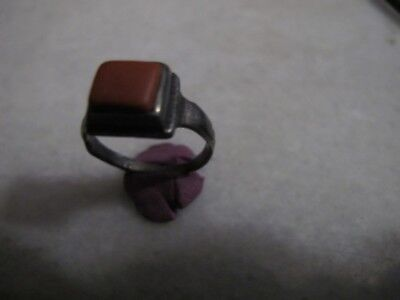 Antique Late Medieval Silver Ring With Red Jasper Stone