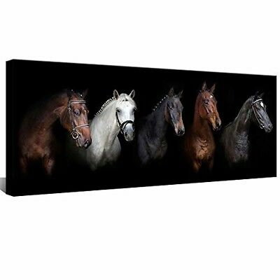 "Wall Art Canvas Horses Picture Home Decor 20x48"" Western Bedroom Framed New"