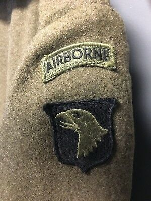 Vintage Military Wool Trench Overcoat USAF 101st Airborne Division Alaska Patch