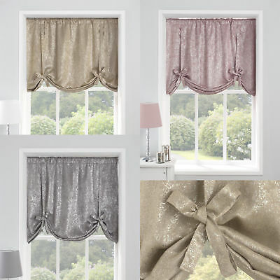 """Glittering Silver Glitzy Sparkles 54""""x 54"""" Thermal Tie Up Blinds £13.99 Each"""
