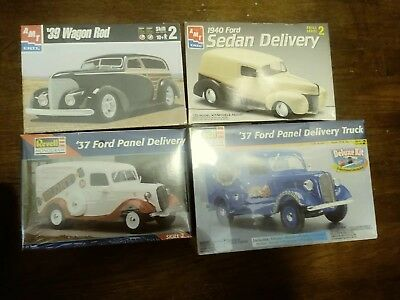 Revell AMT Plastic Model Kit 4 Car Lot 1:25 Scale - 37, 39, &40 Fords
