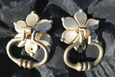 2 Antique 19C American Empire Federal Drawer Hardware Ring Pulls Star Flower