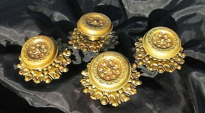 4 Antique 19C American Empire Federal Drawer Hardware Brass Knob Pulls