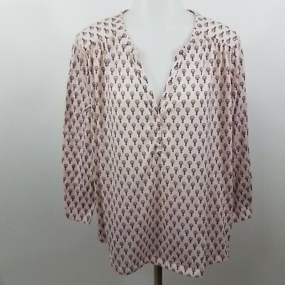 Womens Top L Hot Air Balloon Print Novelty Baby Pink Button Front Long Sleeve