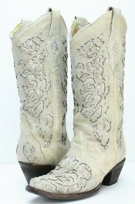 cf4c25283 Corral Ladies White Glitter Inlay And Crystals Snip Toe Wedding Boots A3322  - 6M