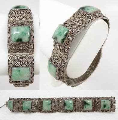 Fine Antique Chinese Filigree Silver & Jade Jadeite Bracelet signed H-K