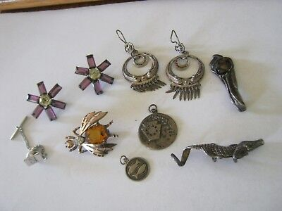 Vintage Lot of Sterling Silver Jewelry, King Cyrus Pendant, Filigree Earrings